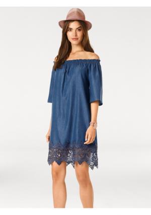Джинсовое платье Linea Tesini. Цвет: синий деним