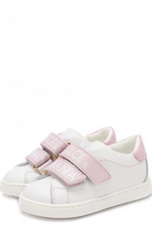 Кожаные кеды с контрастными застежками велькро Dolce & Gabbana. Цвет: белый