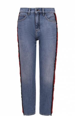 Укороченные джинсы прямого кроя с контрастными лампасами Victoria by Beckham. Цвет: синий