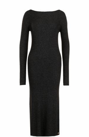 Кашемировое платье-миди с длинным рукавом Colombo. Цвет: черный