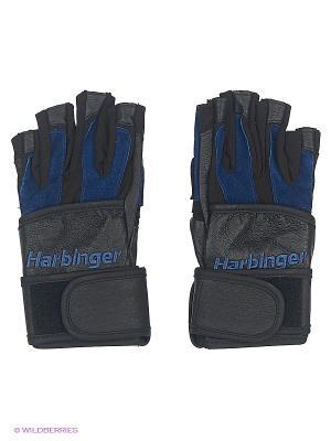 Перчатки для фитнеса мужские BioFlex WristWrap HARBINGER. Цвет: черный, синий