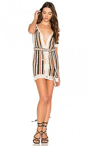 Короткое платье с поясом bardot Cleobella. Цвет: коричневый