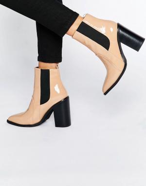 Sol Sana Ботильоны из лакированной кожи на каблуке Lori. Цвет: бежевый