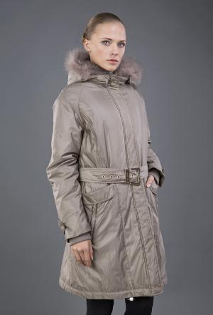 Двустороннее демисезонное пальто  с отделкой песцом Diego M. Цвет: бежевый
