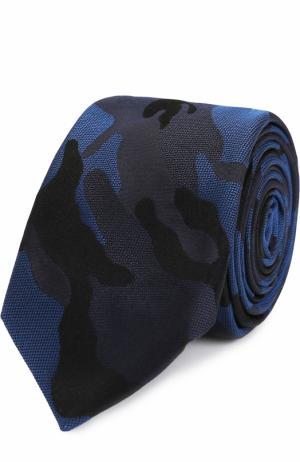 Шелковый галстук с камуфляжным принтом Valentino. Цвет: темно-синий