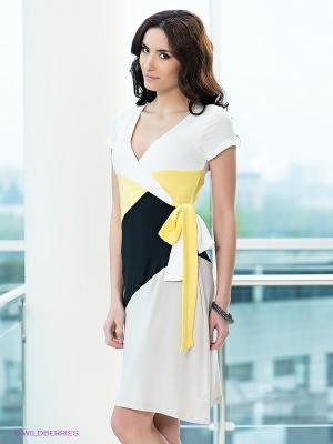 Платье Top Secret. Цвет: светло-бежевый, желтый, белый