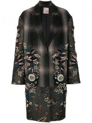 Декорированное однобортное пальто Antonio Marras. Цвет: серый