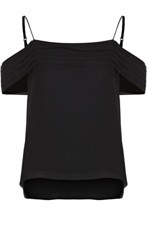 Шелковый топ с открытыми плечами и оборками T by Alexander Wang. Цвет: черный