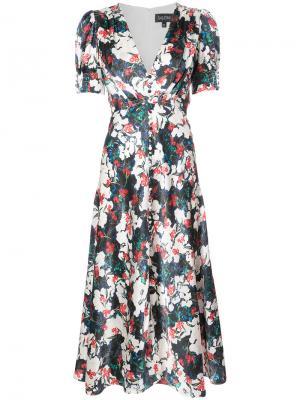 Платье с цветочной вышивкой Saloni. Цвет: белый