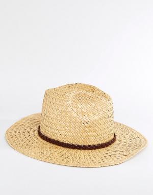 Catarzi Соломенная шляпа с плиссированной кожаной лентой. Цвет: бежевый