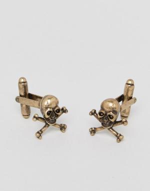ASOS Золотистые запонки в виде черепов. Цвет: золотой