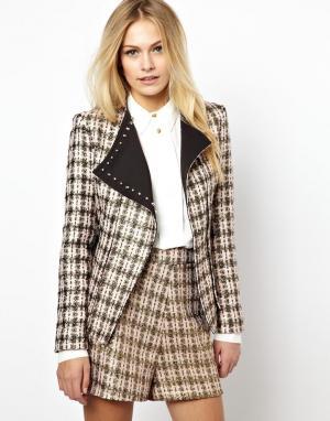 Байкерская куртка из твида  Mellisa Jovonnista. Цвет: розовый твид