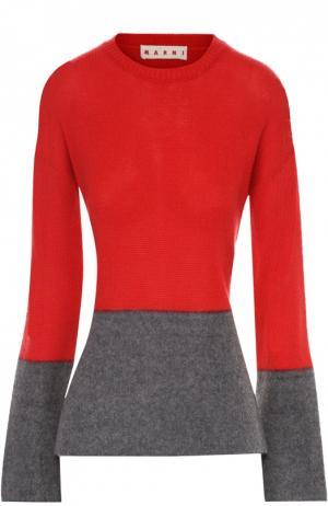 Приталенный кашемировый пуловер Marni. Цвет: красный