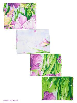 Комплект постельного белья Letto. Цвет: сиреневый, зеленый