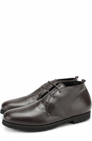Кожаные ботинки на шнуровке с внутренней меховой отделкой Rocco P.. Цвет: темно-коричневый