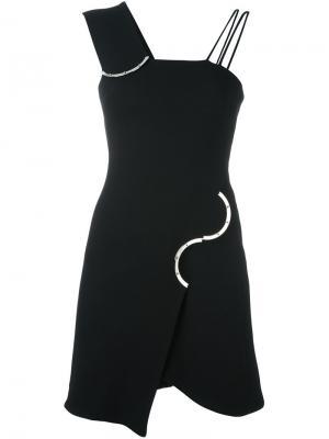 Асимметричное платье David Koma. Цвет: чёрный