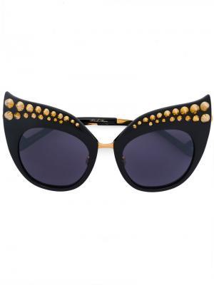 Солнцезащитные очки Karlsson с заостренными заклепками Anna Karin. Цвет: чёрный