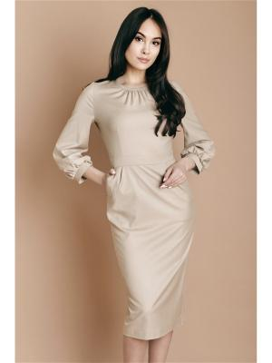Платье с пышным рукавом, беж Welldress