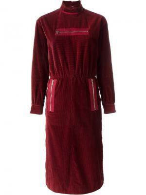 Платье с карманами на молнии Courrèges Vintage. Цвет: красный