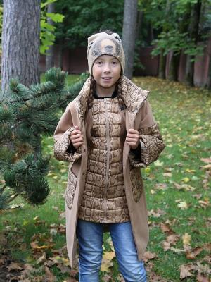 Пальто с жилетом MARIELA. Цвет: бежевый, серо-зеленый, серебристый, бронзовый