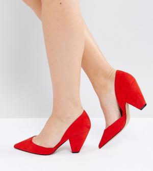 ASOS Tуфли для широкой стопы с острым носком SULPHUR. Цвет: красный