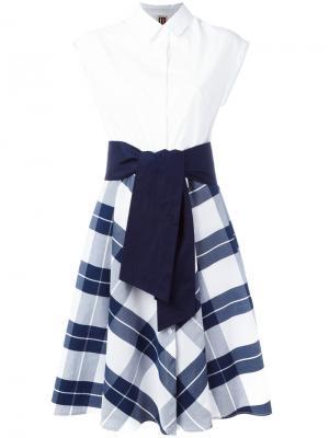 Платье-рубашка в клетку IM Isola Marras I'M. Цвет: белый