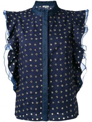 Блузка с рюшами и геометрическим узором Manoush. Цвет: синий