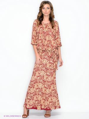 Платье МадаМ Т. Цвет: бордовый, бежевый
