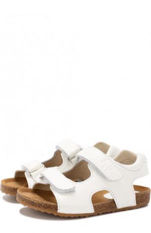 Кожаные сандалии с застежками велькро Il Gufo. Цвет: белый