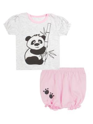Футболка, шорты Апрель. Цвет: серый,розовый