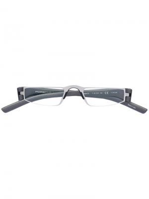 Прямоугольные очки в тонкой оправе Porsche Design. Цвет: серый