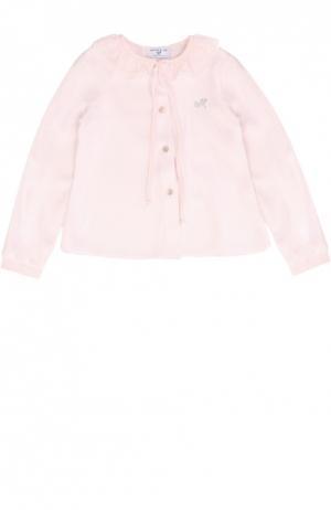 Блуза из вискозы с декором Monnalisa. Цвет: розовый