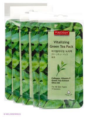 Маска освежающая Зеленый чай 10 мл. Набор из 5 шт. Purederm. Цвет: белый