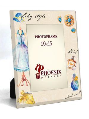 Декоративная фоторамка ЛЕДИ (из стекла, для фото 10*15см) Magic Home. Цвет: бежевый