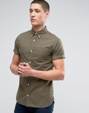 Jack & Jones Приталенная оксфордская рубашка с короткими рукавами Prem. Цвет: зеленый