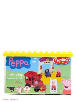 Конструктор поезд с остановкой Peppa Pig, 15 дет. BIG. Цвет: зеленый, желтый