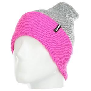 Шапка женская  Neon Tone Roll Up Heather-grey-neon-pink TrueSpin. Цвет: светло-серый,розовый