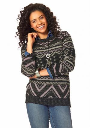 Пуловер BOYSENS BOYSEN'S. Цвет: черный/бежевый