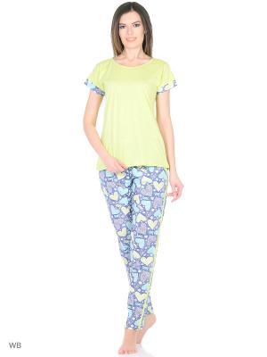 Комплект домашней одежды ( футболка, брюки) HomeLike. Цвет: салатовый