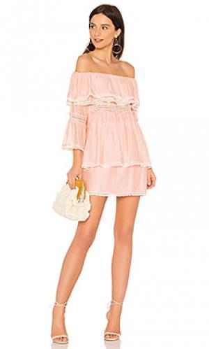 Платье со спущенными плечами roam free Suboo. Цвет: коралл