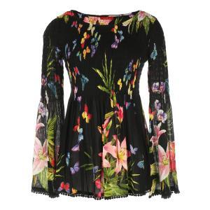 Блузка с круглым вырезом, цветочным рисунком и длинными рукавами RENE DERHY. Цвет: черный/ наб. рисунок