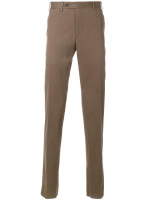 Классические брюки-чинос Canali. Цвет: коричневый