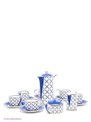 Чайный сервиз  Элегантность Pavone. Цвет: белый, синий