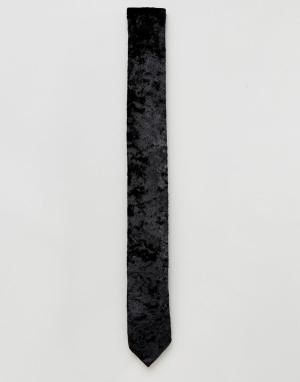 ASOS Черный галстук из мятого бархата. Цвет: черный