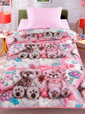Покрывало-одеяло Тэдди, 140х200см. Облегченное, стеганое, 100% хлопок. Letto. Цвет: розовый