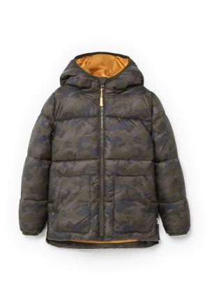 Куртка утепленная Mango Kids. Цвет: хаки