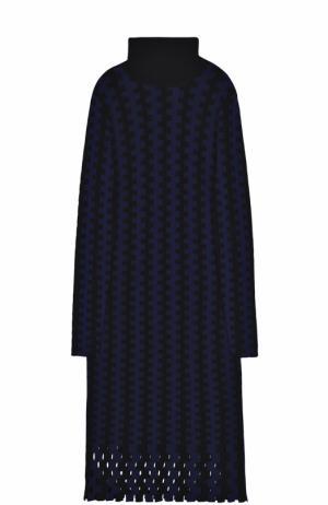 Шерстяное вязаное платье-миди с длинным рукавом Diane Von Furstenberg. Цвет: темно-синий