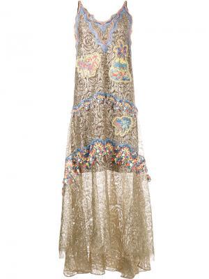 Декорированное платье Peter Pilotto. Цвет: металлический