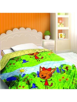 Покрывало декоративное Три кота, Карамелька Василек. Цвет: зеленый