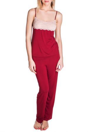 Брюки Rose&Petal Homewear. Цвет: красный